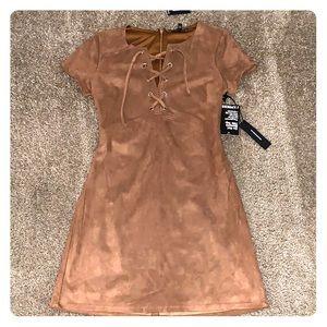 Brown suade mini dress